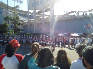 Mater Dei Cheerleaders at Go to Bat for Life.  Image by Shayn Roby