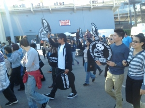 Youth Marching for support of the Unborn at Dodgers Stadium for the Go to Bat for Life Festivities